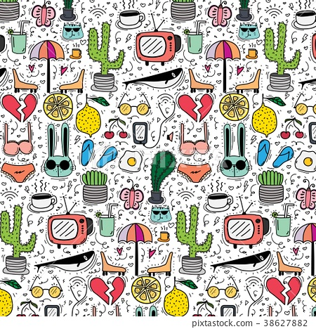Pattern With Hand Drawn Doodle Lovely Background.  38627882
