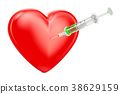 Red heart with syringe concept, 3D rendering 38629159