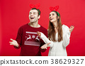Christmas Concept - Romantic couple in a christmas 38629327