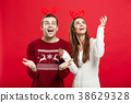 Christmas Concept - Romantic couple in a christmas 38629328