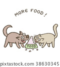 Cartoon dog and cat run to bowl with food. Vector 38630345