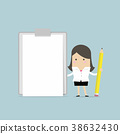 Businesswoman holding pencil with clipboard. 38632430