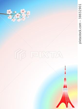 櫻花和東京塔框架 38632901