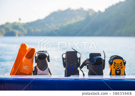 Various flippers prepared for diving 38635668