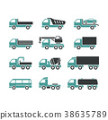 Icons of different trucks 38635789