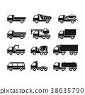 Set of icons of trucks 38635790