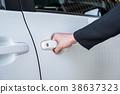 Formal hand on handle opening a car door 38637323