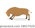 Cow, ox and bull in flat vector design, side view 38637926