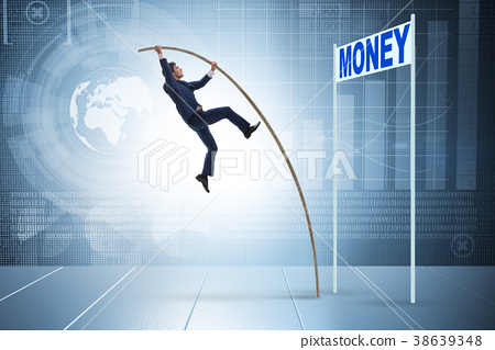 Businessman jumping over money in business concept 38639348