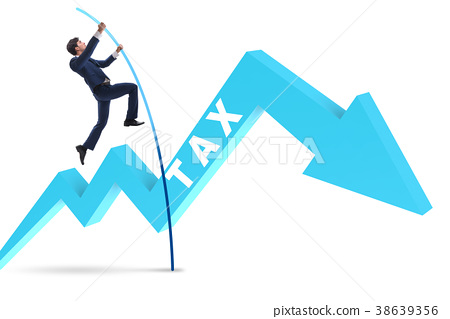 Businessman jumping over tax in tax evasion 38639356