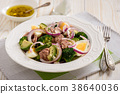 Healthy salad with tuna, eggs and broccoli. 38640036