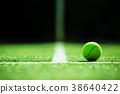 soft focus of tennis ball on tennis grass court 38640422