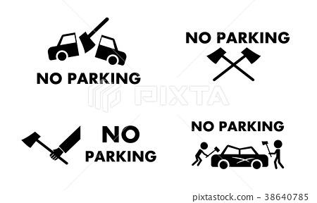 No Parking Sign And Symbol With Axe Concept Vector Stock