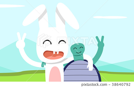 Hare and tortoise take pictures together, vector 38640792