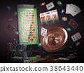 Online casino concept. Mobile phone, roulette 38643440
