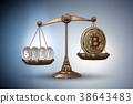 bitcoin, scales, 3d 38643483