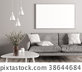 Interior of living room, sofa and mock up poster 38644684