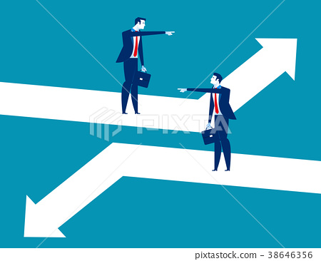 Direction. Business person pointing to different 38646356