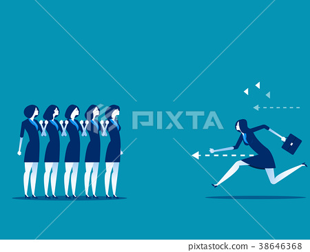 Businesswoman running right through to the goal. 38646368