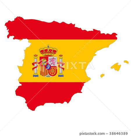 西班牙地圖和國旗 38646389