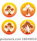 Icons with Palms Silhouettes 38646650