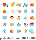 Delivery app modern flat icons set.  38647008