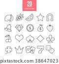 Casino line icons set.  38647023