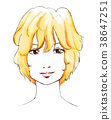 蓬鬆的頭髮的女人 38647251