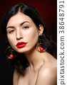 beautiful girl with red lips 38648791
