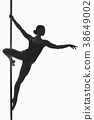 beautiful pole dancer girl silhouette 38649002
