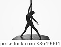 beautiful pole dancer girl silhouette 38649004
