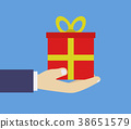 hand with gift 38651579