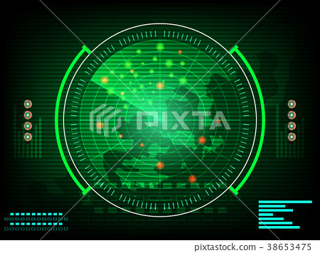 radar screen digital interface with world map  38653475