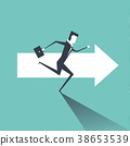 Businessman running on the arrows towards the goal 38653539