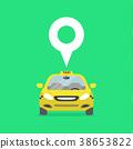 Map pin with taxi car sign. 38653822