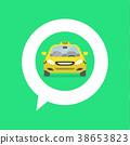 Map pin with taxi car sign. 38653823