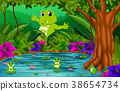 crocodile and frog in the jungle with lake scene 38654734