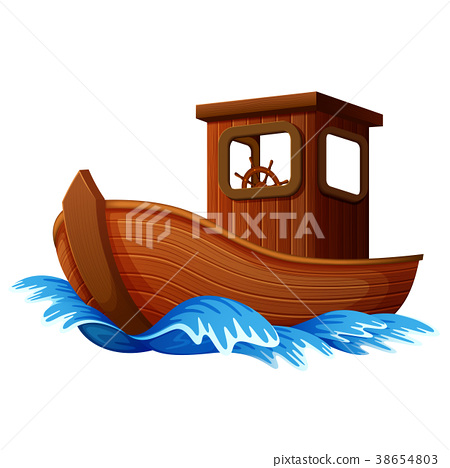 wooden boat sailing in the ocean 38654803