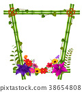 border templates with bamboo and flowers 38654808