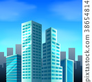 City scene with tall buildings 38654814