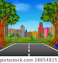 Illustration of a road to the city 38654815