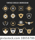 set of vintage monogram and shield elements 38656786