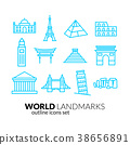 World landmarks outline icons set 38656891