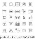 Mini Icon set – Furniture icon vector illustration 38657948