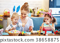 Happy easter! family mother and children paint eggs for   holida 38658875
