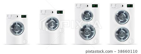 Set Of Front Load White Washing Machines 38660110