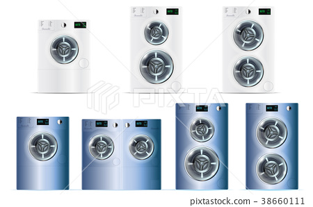 Big Set Of Front Load Double Washing Machines 38660111