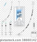 Realistic Intravenous fluid, syringe, test tubes, 38660142
