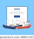 Vintage marine flotilla of ships poster 38661162