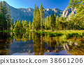 Cathedral Rocks reflecting in Merced River  38661206